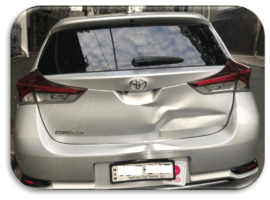 Damaged Car Tailgate or Boot